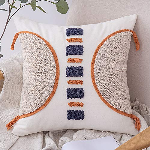 MIULEE Tasseled Cushion Covers Bohemian Indian Embroidered Decorative Square Throw Pillow Case Pillowcases for Couch Livingroom Sofa Bed with Invisible Zipper 18x18 inch 45x45cm Orange And Navy