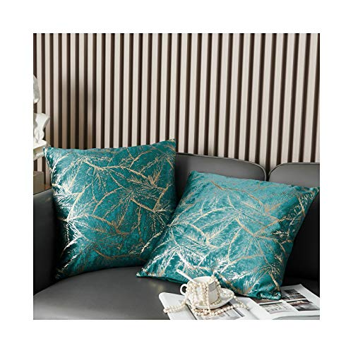 MILLSAWAY Teal Cushion Covers Velvet with Metallic Leaf Pattern, 45 x 45 cm (18 x 18 Inches) 2pc Foil Printing Throw Pillow Cases, Luxury Decorative Soft Pillow Covers for Home Sofa Couch Bedroom