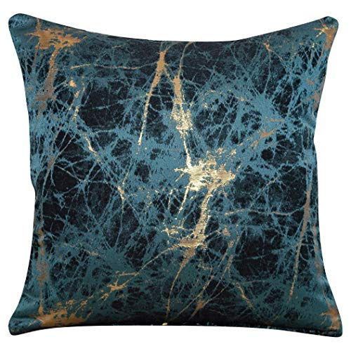 Linen Loft Luxury Teal Blue Metallic Gold Cushion Cover. Double Sided, 17'x17' Square Pillowcase. Deep Turquoise and Indigo with Copper Cracked Marble Effect.