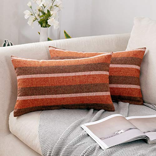 MIULEE Linen Cushion Covers Stripe Throw Pillow Case Square Coastal Home for Sofa Chair Couch Livingroom Bedroom Neutral Decorative Pillowcase 12x20inch 30x50cm Pack of 2 Orange