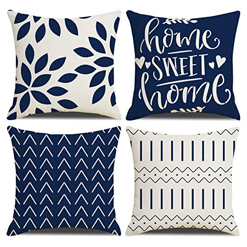 Homefeelzydys Cushion Covers,Cushion Covers 55 x 55 set of 4 Navy Blue Square Throw Pillow Case cushion covers 22x22 4Pack For Outdoor Patio Garden Blench Living Room Sofa Farmhouse Decor