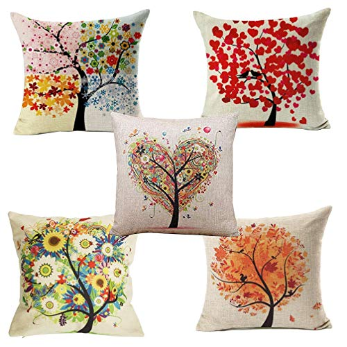 Yangbaga Cushion Cover, Set of 5 Four Season Tree Pillowcase Square Hull House Sofa Cover 18' X 18'
