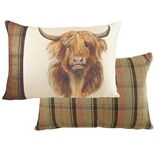 Evans Lichfield Hunter Highland Cow Cushion Cover, Multi, 40 x 60cm