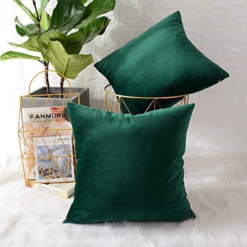 MERNETTE New Year/Christmas Decorations Velvet Soft Decorative Square Throw Pillow Cover Cushion Covers Pillowcase, Home Decor for Party/Xmas 16x16 Inch/40x40 cm, Dark Green, Set of 2