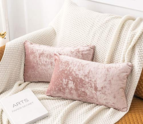 HORIMOTE HOME 2 Pcs Crushed Velvet Blush Pink Rectangle Cushion Covers for Sofa Couch Chair, Decorative Cushion Cases Pillow Covers for Livingroom Bed Car 30x50cm