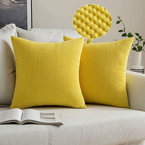 MIULEE Corduroy Granule Throw Pillow Covers Soft Pellets Solid Decorative Square Cushion Case for Sofa Bedroom Yellow 20'x20'2 Pieces