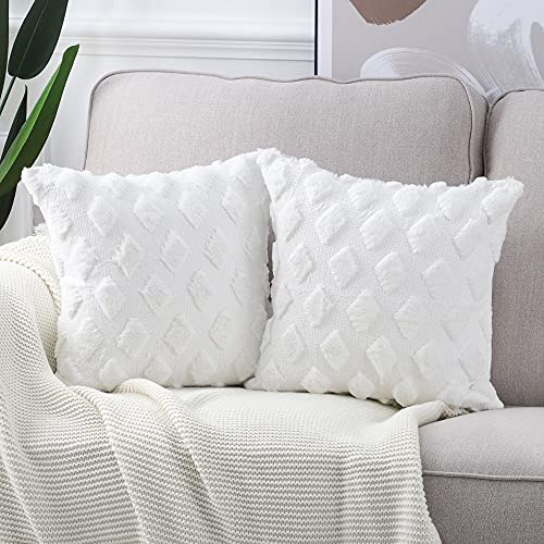 Madizz Pack of 2 Soft Plush Short Wool Velvet Decorative Cushion Covers Luxury Style Throw Pillow Cases European Pillow Shell for Sofa Bedroom Square White 24x24 inch