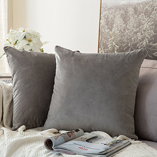 MIULEE Decorative Velvet Cushion Covers 55cm x 55cm/Square Throw Pillowcases for Sofa Bedroom with Invisible Zipper 22x22 Inches Sets of 2 Grey