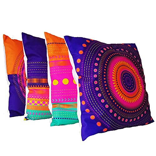 Cushion covers set of 4 Vibrant Colorful Mandala throw pillow square sofa bed living room 45 X 45cm home decor 18 X18 inches 100% polyester