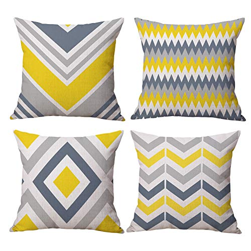 BCKAKQA Cushion Covers Grey and Mustard Geometric Throw Pillow Cover Soft Polyester Square Decorative Throw Pillow Case for Living Room Sofa Couch Bed Pillowcases 45 x 45 cm (18'' x 18'') Set of 4