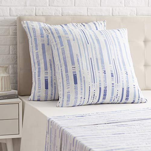Amazon Basics Sateen Pillowcase - 80 x 80 cm x 2, Textured Stripe Ice Blue