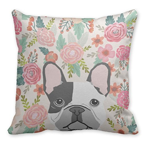 Beautyzan French Bulldog Pet Portrait Cute Frenchie Puppy Square Cushion Covers 18'