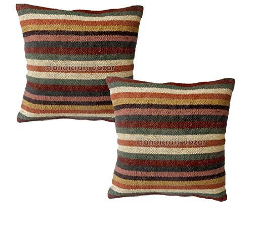 Handicraft Bazarr- Set 2 Indian Handmade Woven Cushion Cover Decorative Jute Pillow Cover Turkish Cushion Cover Fair Trade Pillows Jute Art Pillo For Sofa Car