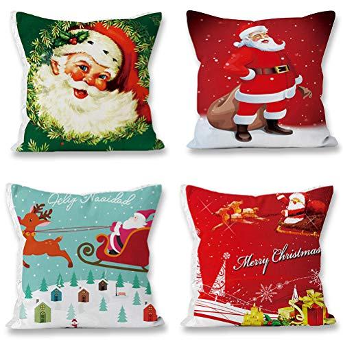 EURhine Christmas Pillow Case Sofa Decorative Santa Claus Xmas Throw Pillowcase Cotton Linen Square Cushion Pillow Covers 18x18Inch 4 Pack Sets A