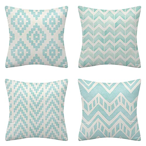 Cushion Covers 70x70cm/28x28in Cyan Geometric Pattern Set of 4 - Cotton Linen Throw Pillow Case Soft Sofa Bed Chair Cushion Covers Square Pillowcase,for Livingroom Office Car Bedroom Decorative Q809