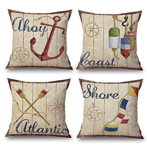 LYNKO Cushion Covers 45 x 45cm,Set of 4 Linen Pillow Covers Decorations Nautical Tools Coastal seaside Sea Theme for Sofa, Outdoor Garden, Bed, Couch, Car(18'x18')