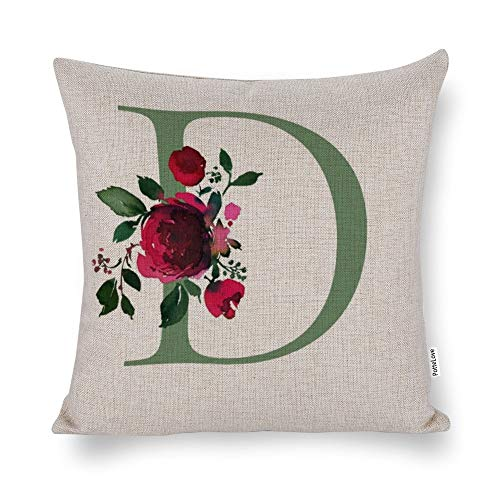 Promini Floral Red Rose Monogram Initial Letter D White Cotton Linen Blend Throw Pillow Covers Case Cushion Pillowcase with Hidden Zipper Closure for Sofa Bench Bed Home Decor 24'x24'