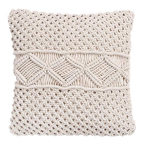RAJRANG BRINGING RAJASTHAN TO YOU Boho Cushion Covers - Macrame Pillow Cover Bohemian Hand Woven Throw Pillows Home Decor Knitted Pillow case 45 x 45 cm