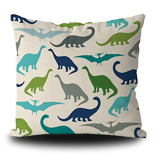 BAGEYOU Cute Cartoon Dinosaurs Throw Pillow Cover Children Party Gifts Colorful Pterosaur Silhouette Animal Cushion Case 16 x 16 Inch Home Decor Square Linen Pillowcase
