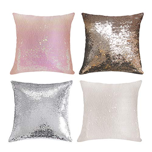 Set of 4 Sublimation Blanks Cases Decorative Pillow Case Cushion Cover Square Paillette Throw Sequins Cushion Covers 40 x 40 cm, (CASE ONLY, NO Insert) Four Color (White,Silver,Champagne,Flax Yellow)