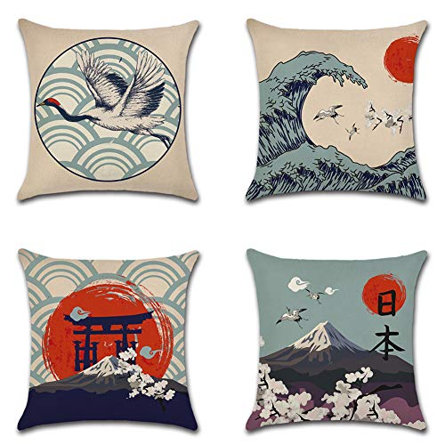 Artscope Cushion Covers, 45 x 45 cm Square Polyester Linen Decorative Pillowcases, Throw Pillow Covers for Sofa Car Bedroom, 4 Pack (Japanese Style E)