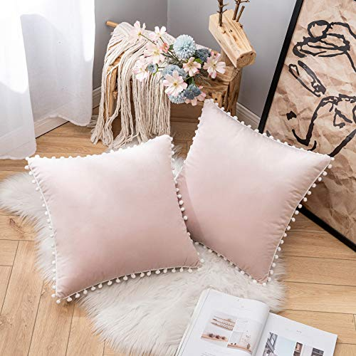 MIULEE Cushion Covers Velvet Throw Pillow Covers Decorative Soft Pillow Cases with Pom Poms Square for Couch Bedroom Sofa with Invisible Zipper 18x18 Inch, 2 Packs, Pink