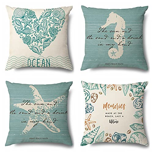 Outdoor Waterproof Nautical Cushion Covers Set of 4 Square Summer Seaside Linen Throw Pillow Covers, 45x45cm, Suitable for Sofa Garden, Terrace, Bench Home Bed Decorative Ocean Cushion Cover (P)