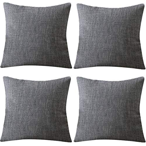 MeGaLuv Faux Linen 4 Pillow Cases Cushion Covers Zip Square Pillows for Sofa 18 x 18 Inch (Gray, 45x45cm)