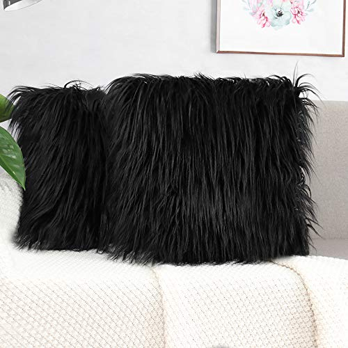 2 Pack Fluffy Cushion Covers Faux Fur Throw Pillowcase, Square Pillow Plush Covers Shaggy Soft Home Decor for Living Room Sofa Bedroom 45x45 cm Black