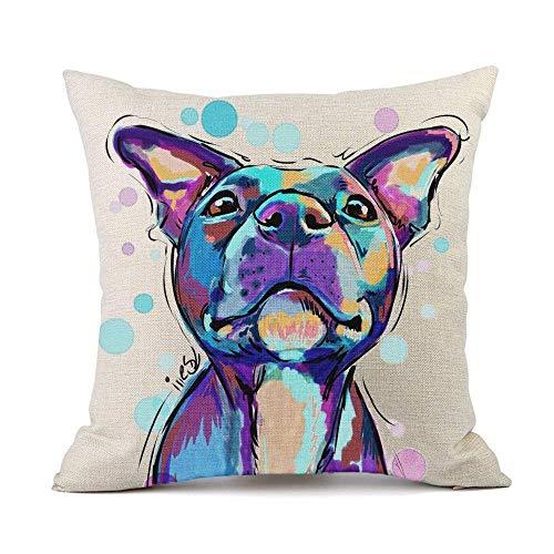 Moyun Watercolor Bulldog Dog Pattern Cotton Linen Cushion Cover Throw Pillowcase Car Sofa Home Decor 45cm