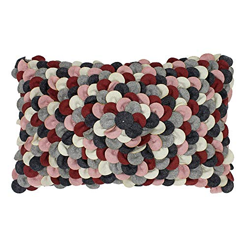 Riva Paoletti Petals Cushion Cover - Plum Red, Pink, Grey and White - Textured Sewn Fabric Petals - 60% Wool 40% Polyester - 30 x 50cm (12' x 20' inches) - Designed in the UK