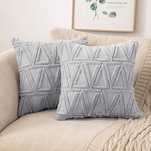 MIULEE Sofa Cushion Cover Soft Wool Throw Pillow Case Decorative Elegant With Triangle Plush Home for Bedroom Living Room Protector 45 x 45cm 18 x 18 Inch Pack of 2 Grey