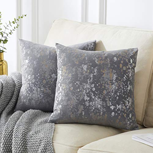 OMMATO Velvet Grey Cushion Covers 50cm x 50cm Square Silver Gold Print Decorative Throw Pillowcases 20 x 20 inch for Sofa Bedroom Living Room Pack of 2