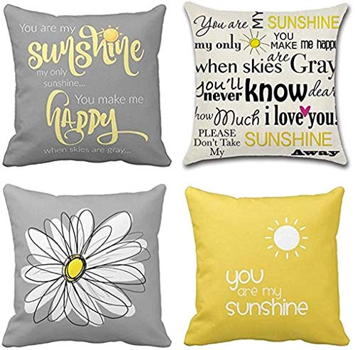 TOMMO Set of 4 Cushion Covers 45 x 45cm You are My Sunshine Yellow Gray with Chevron Words Decorative Throw Pillow Covers Home Decor Square cushion covers 18x18 Inches
