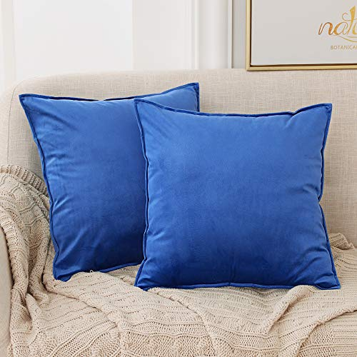 Deconovo Set of 2 Crushed Velvet Cushion Covers 45cm x 45cm 18x18 Inches Pillowcases Flanges Throw Pillow Cases Cushion Covers for Boys with Invisible Zipper Royal Blue