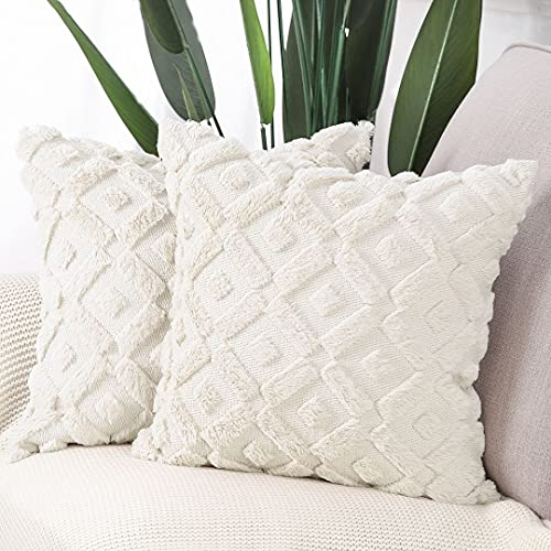 Madizz Pack of 2 Soft Plush Short Wool Velvet Decorative Cushion Covers Luxury Style Throw Pillow Cases Pillow Shell for Sofa Bedroom Square Beige 16x16 inch