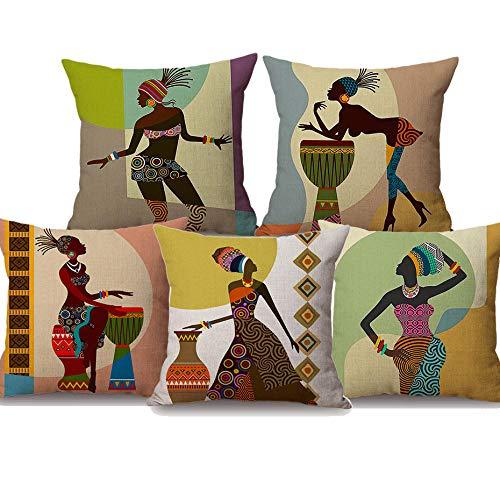 JWEK Cushion Cover Set Of 5 Exotic Fashion African Women Art Cushion Covers African Life Culture Decorative Cushion Cover Linen Pillowcase 45X45Cm