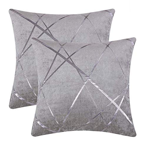 Gigizaza Cushion Covers 50 x 50 cm Silver Grey Square Chenille Decorative 20 x 20 Inch Pillowcases for Sofa Bedroom Living room Set of 2