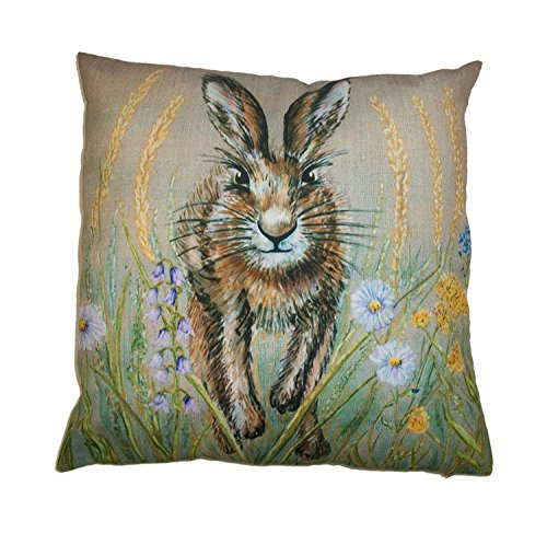 TOOGOO Stunning Spring Hare Cushion cover in a springtime meadow 18x18 inch(45 cm X 45 cm)