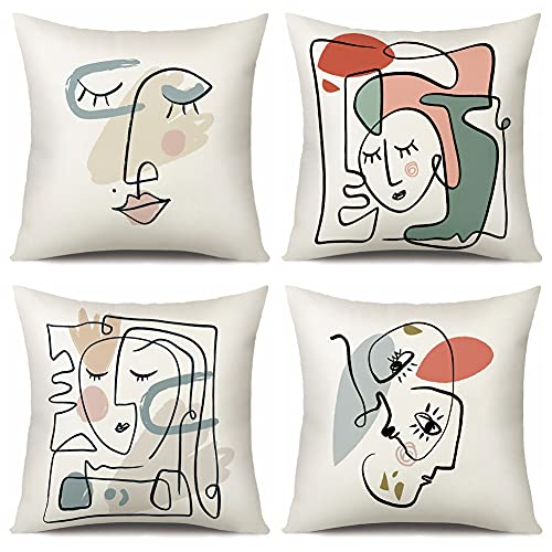 Artscope Cushion Cover Set of 4 Linen Decorative Square Pillowcase Pillow Cover 45x45cm for Home Decor Sofa Bedroom Car (Abstract face, Covers)