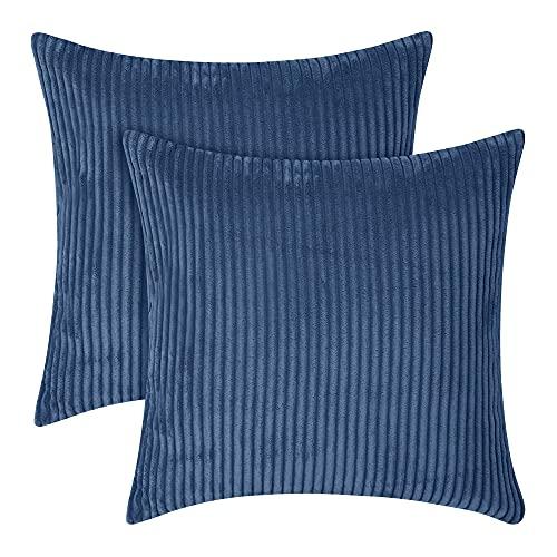 Amazon Brand - Umi 45 x 45 cm Velvet Throw Pillow Case Super Soft Cushion Covers for Sofa Bedroom Decoration Dark Blue Set of 2