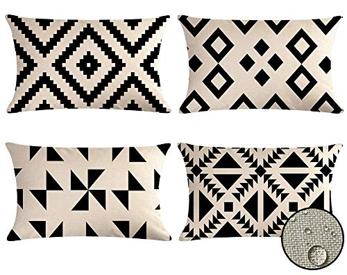 VIGVOG Outdoor Geometric Cushion Covers Showerproof, 30 x 50cm, Pack of 4, Water Resistant Scatter Garden Throw Pillow Case for Outside Bench Sofa Furniture (#1)