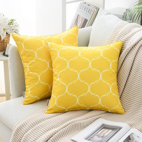 MIULEE Pack of 2 Cushion Cover Decorative Throw Pillow Cover Comfortable Modern Geometric Patterns with Polyester Pillow Case for Sofa Bed Garden Outdoor Waterproof 16 x 16 Inch 40 x 40 cm Yellow