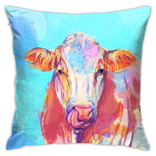 N\A Throw Pillow Cushion Cover,Beautiful Cow Colorful Painting Decorative Square Accent Pillow Case for Men/Women