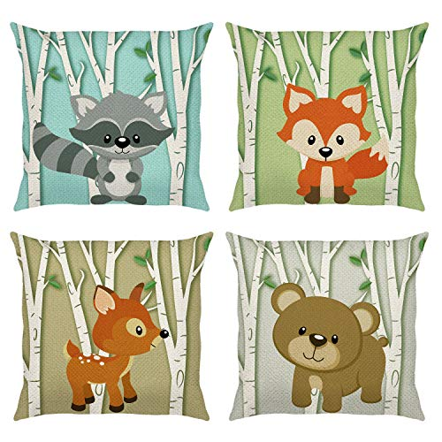 Bonhause Forest Animals Cushion Covers 18 x 18 Inch Set of 4 Deer Fox Birch Tree Decorative Throw Pillow Covers Polyester Linen Pillowcases for Sofa Childrens Bedroom Indoor Outdoor Decor, 45cm x 45cm