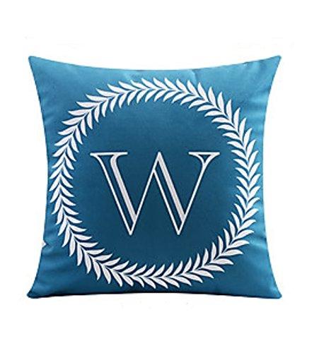 "ZUODU Navy Blue Cushion Cover 45X45CM Letter Crown Printing Peach Skin-Like Decorative Pillow Cover Cushion Cover 18x18"" Free Combination (Letter W)"
