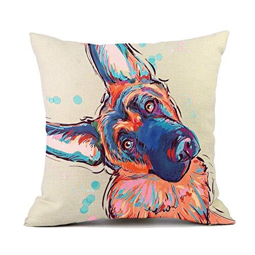 Vioaplem Cute Pet German Shepherd Dog Cushion Covers Cotton Linen Sofa Decorative Throw Pillow Cases for Home Decor 18×18 Inch