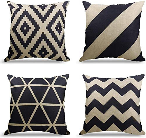 WEYON Set of 4 Decorative Square Cushion Covers,Geometric Pattern for Living Room Sofa Bedroom Office with Invisible Zipper, Decor Cotton Linen (Black & White Geometry, 16x16 in)