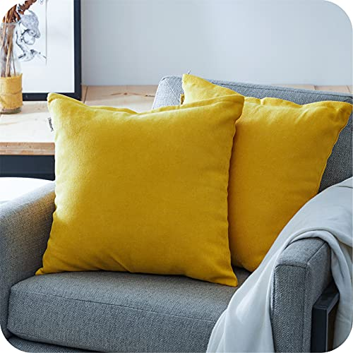 Topfinel Yellow Chenille Cushion Covers 22x22 Inch Soft Square Decorative Throw Pillowcases for Livingroom Sofa Bedroom 55cmx55cm,Pack of 2