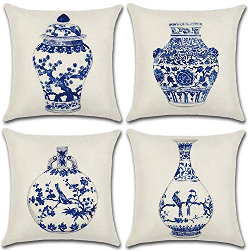 Soleebee Cotton Linen Throw Pillow Covers Car Cushion Covers for Sofa Bed Home Decor Set of 4, 45 x 45cm (Blue and White Porcelain Bottle)